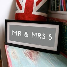 MR & MRS Personalised Destination Blind by Pearl and Earl