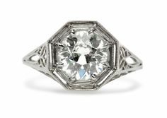 Shelton is a fabulous vintage Edwardian engagement ring featuring a 1.92ct Old European Cut diamond in a pretty octagonal setting. Gorgeous! TrumpetandHorn.com | $19,100
