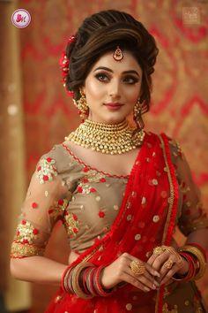 Bridal makeup and hairstyle by Mayuri Sinha Sarkar Pakistani Bridal Hairstyles, Bridal Hairstyle Indian Wedding, Indian Bridal Photos, Bengali Bridal Makeup, Indian Wedding Bride, Bridal Hair Buns, Indian Hairstyles, Indian Wedding Makeup, Bengali Wedding