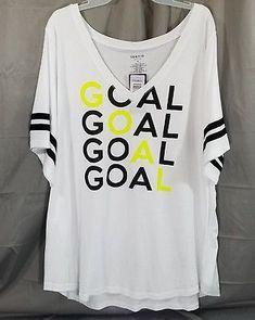 81aee16abe Torrid Shirt Women Size 4 GOAL V Neck Football Shirt White Plus Size NWT