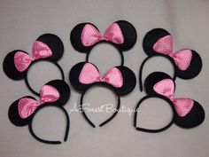 6 Lot Minnie Mouse Polka Dot Light Pink Polka Dot Bow Ears Headbands Bows Birthdays Mickey Party Favors Princess N