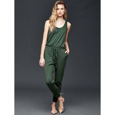 Gap Women Sleeveless Tie Jumpsuit ($60) ❤ liked on Polyvore featuring jumpsuits, dark olive, regular, sleeveless jumpsuit, gap jumpsuit and jump suit