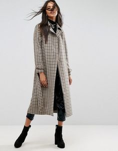 Shop Now - >  https://api.shopstyle.com/action/apiVisitRetailer?id=682739016&pid=uid6996-25233114-59 ASOS Trench in Wool Check  ...