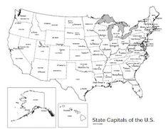printable usa states capitals map names states Pinterest