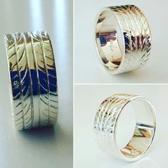 Solid sterling silver hand crafted and engraved tyre ring. Made by Karen Ryder owner and designer RPM Jewellery Silver Ring Designs, Sterling Silver Rings, Wedding Rings, Engagement Rings, Jewellery, Crafts, Beauty, Beleza, Jewelery
