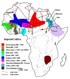 A map of ancient Africa. Islam provided a good base for the Sudanic states. It helped to guide the governments, and gave them something in common. However, many people in these states did not convert to Islam. African Empires, African American History, Classroom Images, Social Studies Worksheets, Old World Maps, Africa Art, Lion Of Judah, Political Events, African Diaspora