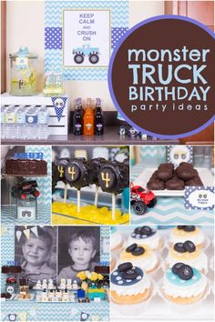 What goes fast and gets dirty? Darling twin boys and their trucks! Peek at the printable décor and truck tire cake pops at this Boys' Monster Truck Birthday Party! Monster Trucks, Monster Truck Birthday, Monster Jam, 3rd Birthday Parties, Baby Birthday, Birthday Ideas, Kid Parties, Third Birthday, Party Ideas