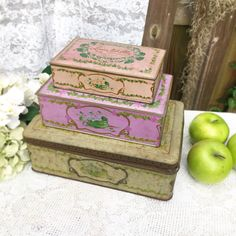 3 Antique decorative Tin LOUIS SHERRY Boxes Lilac Pink Violet Purple canister. hinged kitchen victorian shabby chic storage jewelry by WonderCabinetArts