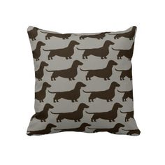Dachshund Dogs Pattern Pillow. I want to be one of those weird people who buy all the merch associated with their dog breed.