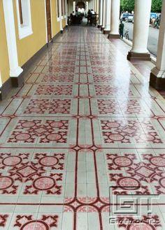 Unusual Arcade Cement Tiles in Central Plaza of Granada, Nicaragua