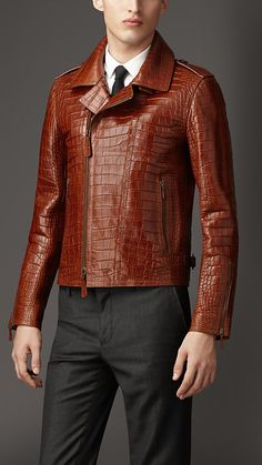 Alligator Leather Biker Jacket | Burberry This is decadence, I LOVE IT.