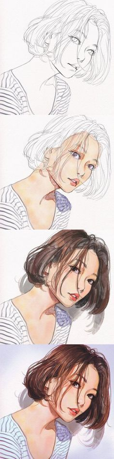 Tags : Art ; painting ; watercolor ; portraits ; anime ; animation ; drawing ; illustration by Ilya Kuvshinov