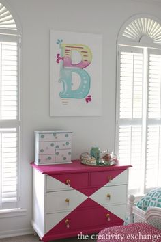 Harlequin White and Pink Dresser in a gorgeous bright and bold tween room