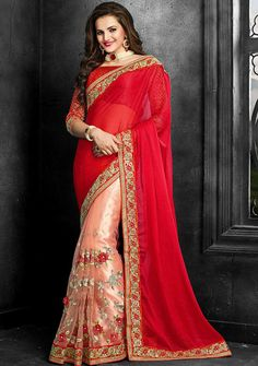 Radiant Red Color #Indian #Saree