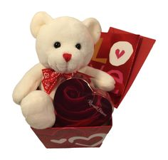 Valentines Day Teddy Bear Gift Bundle - 7 Plush Teddy Bear, 1.75oz Box of Russel Stover Chocolates, 4 Tall Box, Card with Envelope (White)