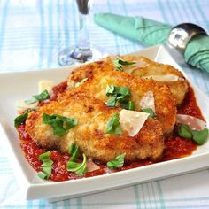 No need for frying, this oven baked, lower fat panko pork chops recipe is delicious served with pasta and your favorite simple marinara or puttanesca sauce.