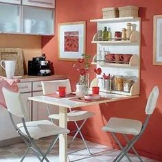 25 Compact Dining Furniture and Transformer Furniture Design Ideas for Small Spaces Compact Furniture, Furniture For Small Spaces, Home Decor Furniture, Kitchen Furniture, Furniture Design, Kitchen Dinning Room, Kitchen Living, Kitchen Decor, Dining Area