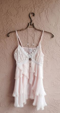Blush Pink ruffle top with lace and crochet details summer romantic gypsy boho girl