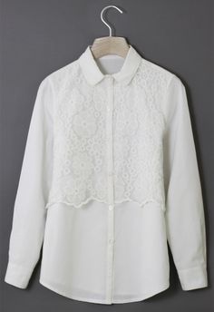 Floral Crochet Panel White Shirt//