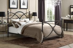 Dorel Home Furnishings Premium Skylar Queen Metal Bed, Brown