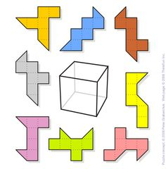 Cubed Triangles - A shape consists of five adjacent squares and two triangles. There are some variations of the shape provided. The goal is to figure out which of them can be folded into a cube. A good exercise to train your spatial reasoning. By Peter Grabarchuk.