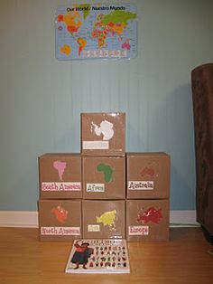 These are continents in a box. I love the idea that children can explore the continent (looking through pictures of places, animals, people, etc). Possible center?