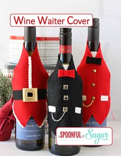 The Wine Waiter Cover pdf sewing pattern is a fun way to dress up bottles of wine for gift giving. It also inclused directions to make the Santa Waiter Cover. Pattern available in our Etsy and Craftsy Stores. Felt Christmas Decorations, Christmas Crafts, Bottle Decorations, Christmas Kitchen Towels, Christmas Wine Bottles, Wine Bottle Covers, Glass Bottle Crafts, Bottle Bag, Deco Table