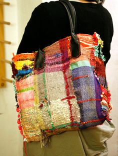 SAORI NYC handwoven tote box shape by LoopoftheLoom on Etsy