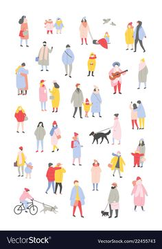 Bundle of tiny people dressed in outerwear walking and performing outdoor activities at Christmas eve. Men and women wearing winter clothes isolated on white background. Winter Illustration, Man Illustration, Character Illustration, Adobe Illustrator, Render People, Outdoor Activities For Toddlers, Logos Retro, Buch Design, Architecture People