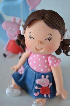 Topo De Bolo Infantil Peppa pig com vela