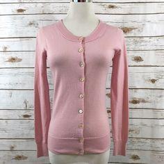 Womens JCREW XS Merino Wool Tippi Cardigan Sweater Rib Trim PINK 91212 EUC #JCREW #Cardigan #Casual
