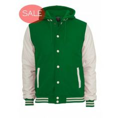 URBAN CLASSICS GREEN WHITE HOODED OLDSCHOOL VARSITY JACKET - Jackets and Coats - Menswear Grey And White, Old School, Hoods, March, Menswear, Urban, Coat, Classic, Jackets