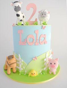 Farm Birthday Cakes, Animal Birthday Cakes, 2nd Birthday Party Themes, Farm Animal Birthday, Birthday Cake Girls, Birthday Cookies, Baby Birthday, Birthday Ideas, Beautiful Birthday Cakes