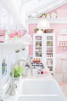 pretty in pink kitchen with fab windows