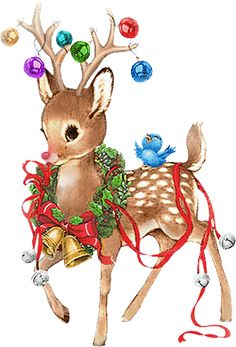 A cute deer wearing Christmas decorations - vintage Christmas Scenes, Christmas Deer, Christmas Clipart, Christmas Animals, Christmas Past, Retro Christmas, Christmas Holidays, Christmas Decorations, Vintage Christmas Images