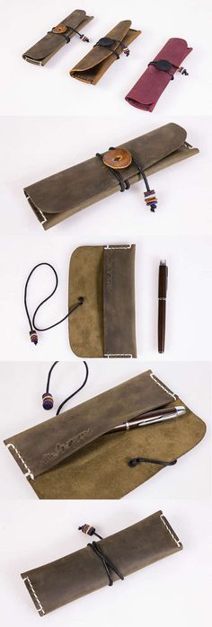 Genuine Leather Roll Up Style Single Pen Pencil Case