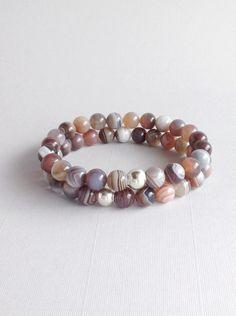 Botswana Agate stretch bracelet, handmade beaded jewelry with neutral gray brown stones