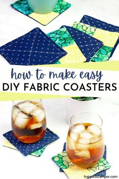 Fabric coasters are not only environmentally friendly, but machine washable! Learn how these easy and chic fabric coasters in this step-by-step sewing tutorial. Homemade Coasters, Diy Coasters, Sewing Tutorials, Sewing Projects, Sew Gifts, Fabric Coasters, Fusible Interfacing, Yellow Fabric, Seasonal Decor