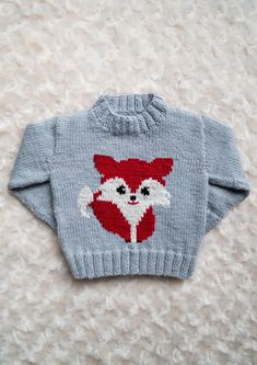 Feeling Foxie??? A 4ply sweater with a cute foxon the front, for ages 0-5 years. Pattern comes with written knitting instructions and knitting chart.