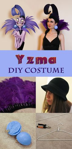 Yzma Costume For Under $50, Made In 3 Hours. Step By Step Instructions,  Made From A Cloche Hat, Two Hangers, Feathers And A Pair Of Tights.