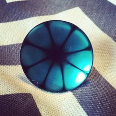 Large teal sunburst metal ring with adjustable by LovelyBooty, $7.50