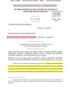 usa-v-jose-escalantereyes-5th-cir-july-25-2012-issues-for-appellate-review by BigJoe5 via Slideshare