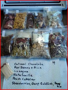 Backpacking Vacuum Seal Daily Rations to Protect Your Food & Stay Organized/ she includes list of whats in with matches, remember salt and pepper packets or ? if you like, love this site Hiking Food, Backpacking Food, Camping Meals, Tent Camping, Emergency Food, Survival Food, Survival Quotes, Homestead Survival, Survival Prepping