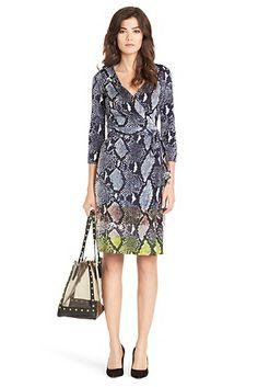 8be9003f9b New Julian Two Silk Jersey Dress In Python Multi Large Diane Von  Furstenberg Dress