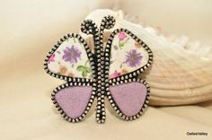Butterfly brooch/ Zipper brooch/ Zipper butterfly/ by GalleeValley