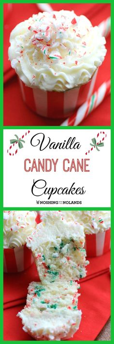 MWM Vanilla Candy Cane Cupcakes by Noshing With The Nolands will get everyone into the spirit of the holiday with their festive buttercream frosting of peppermint and candy cane! christmas food and drink Köstliche Desserts, Holiday Desserts, Holiday Baking, Holiday Treats, Holiday Recipes, Delicious Desserts, Christmas Recipes, Winter Desserts, Christmas Foods
