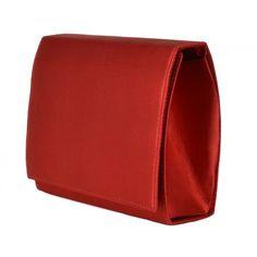 Bolsa de festa vermelha, modelo clutch em tecido acetinado vermelho. Pode ser usada com alça tiracolo ou como bolsa de mão. Clutch Vermelha da Chá de Mulher