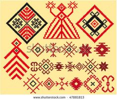 vector set of authentic baltic weaving patterns by Elfwilde, via ShutterStock