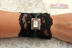 Black Lace Watch with Antique Copper Watch Face