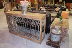 I love love this console!!!  rod iron ancient gate with reclaimed wood!